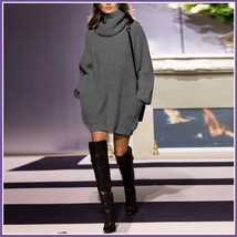 Loose Long Sleeve Beige or Gray Knitted Cowl Turtleneck Pullover Sweater Dress image 4