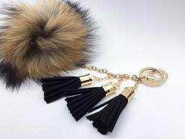 Ultimate beauty Raccoon Fur Pom Pom luxury bag ... - $37.99