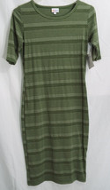 LuLaRoe Julia Dress in S in Heathered Pine Green with Green Stripes   NWT - $42.07