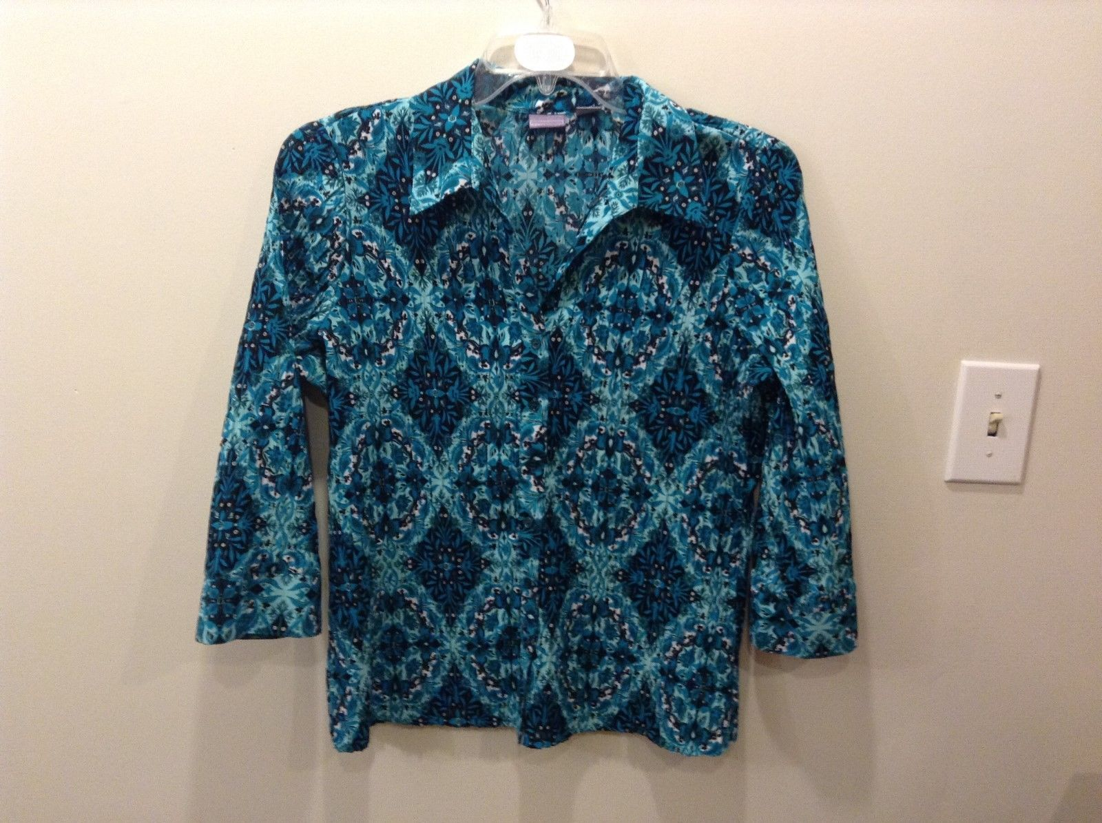 Laura Scott Blue Patterned Blouse Ribbed w/ Floral/Abstract Design XL/EG