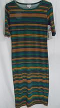 LuLaRoe Julia Dress in S in Hunter Green Navy Brown Stripes   NWT - $26.13