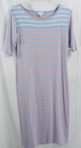 LuLaRoe Julia Dress in S in Light Blue Taupe / Pink White Stripes   NWT - $26.13