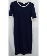 LuLaRoe Julia Dress in S in Navy with White Tri... - $49.49