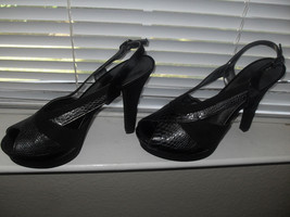 Nine West Easy Cool New Womens Black/Gray Leather Open-Toe Slingback Shoes   8M - $38.99