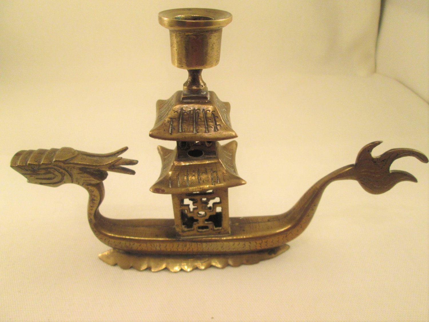Vintage brass dragon candle holder made in china wwii era for Brass home decor