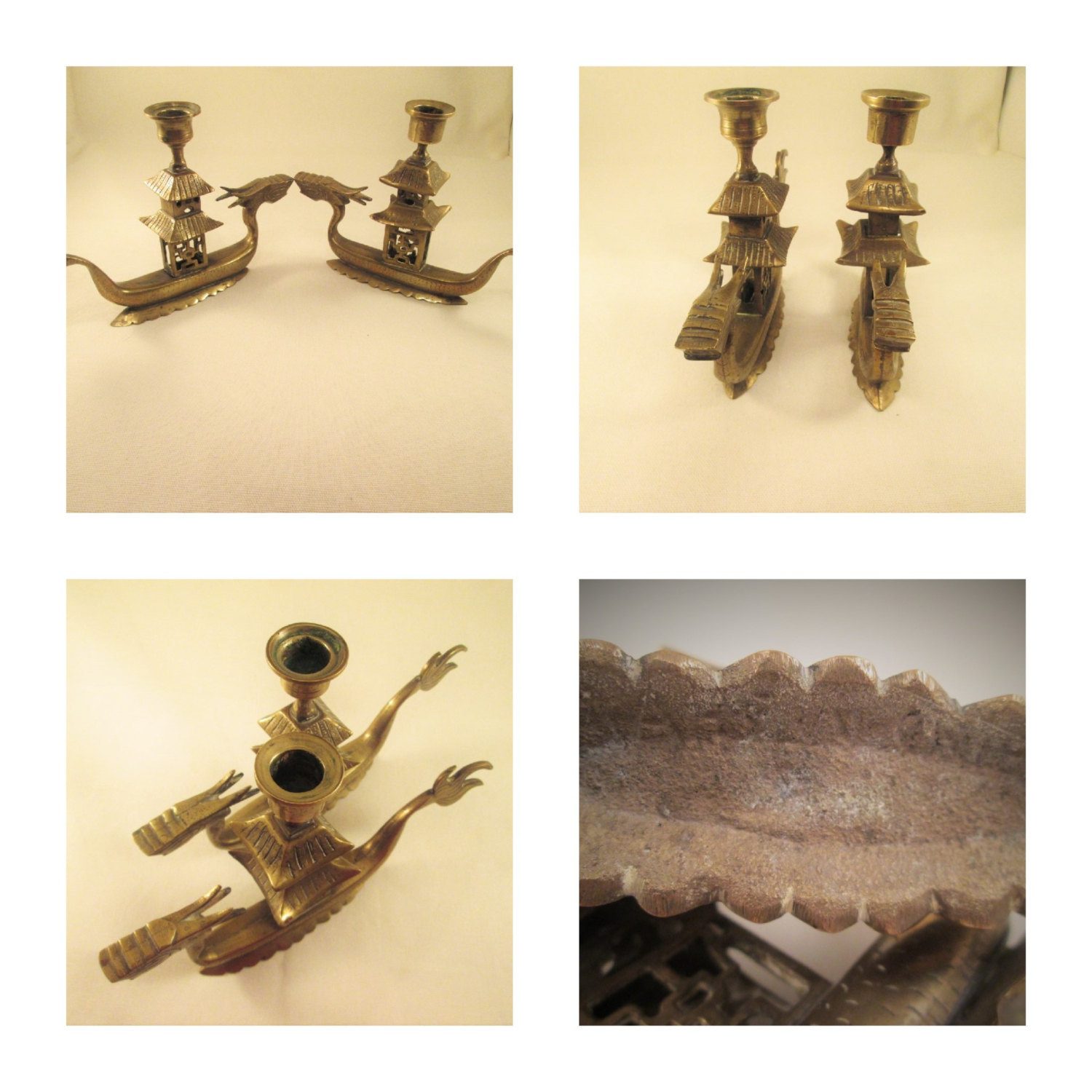 Vintage Brass Dragon Candle Holder Made In China Wwii Era Candlestick Home Decor Vintage