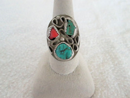 Turquoise Coral Ring Old Pawn Navajo Native American Ring Size 9.75 Old ... - £52.92 GBP