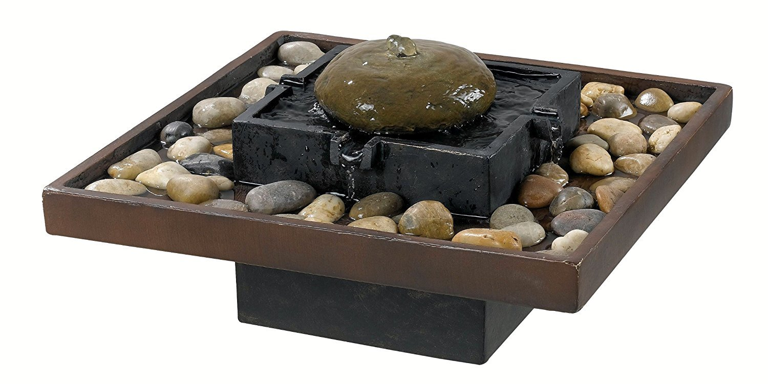 Water Fountain Tabletop Electric Pump Rock Stones Indoor