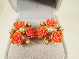 Celluloid Carved Rose Earrings Pearls Gold Plate Vintage 1940's Peach Or... - $34.85