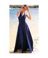 Dark Blue Sexy Women Convertible Wrap Maxi Dress - $39.95+