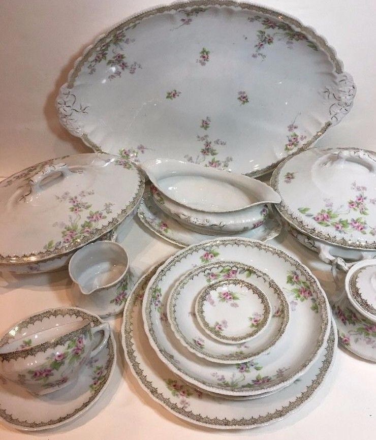 Vintage Austria China Imperial PSL OPHELIA 45 Piece Dinnerware Service Set