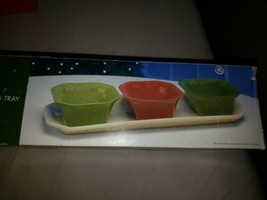 New In Box Holiday Time 4 Piece Condiment Serving Tray - $19.80