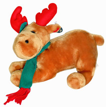 "King Plush Kuddles 10"" x 9"" inch Christmas Reindeer With Green Scarf - £13.53 GBP"