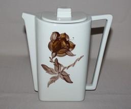 Orchard Ware Magnolia Coffee Pot Art Deco Brown Flower Square California - $9.84