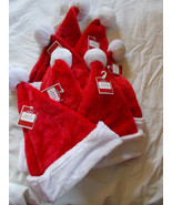 Lot of 7 Plush Medium Santa Hats Red & White New - $24.75