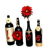 Black Decorated Wine Bottles Dark Red/Burgundy ... - $45.00