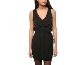 Urban Outfitters Silence & Noise Ruffle Front Bib Dress Black Size S/M - £5.71 GBP