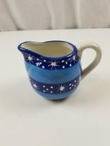 Pfaltzgraff Ice Crystals Creamer Bowl Dish Blue Stripe Snowflake Hand Painted - $17.10