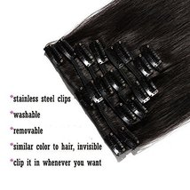 """24"""" Remy Clip in on Hair Extensions Remy Human Hair Standard Weft 80g 8 Pcs 18 C image 7"""