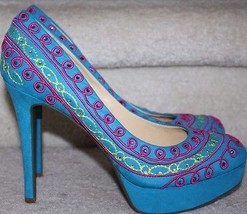 Gianni Bini NEW Turquoise Pink Green Suede Pump... - $49.99