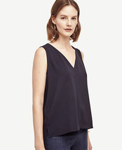 Ann Taylor Crepe Hi-Lo V-Neck Shell Navy Size Small - $8.00