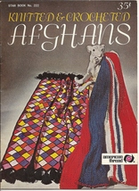 Afghans Knitted & Crocheted American Thread Star Book No 222 Knit Eagle ... - $5.50