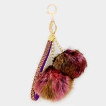 Burgundy Double Furry Pom Pom & Wrist Strap Key... - $10.50