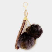 Brown Double Furry Pom Pom & Wrist Strap Keycha... - $10.50