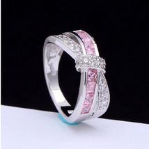 USA Women Pink Amethyst & CZ Criss Cross Finger Ring Band Jewelry Size 6-10 - $249,42 MXN