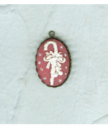 Enchanting Bow-Trimmed White Candy Cane Soft Red  Resin Pendant Christmas - $9.00