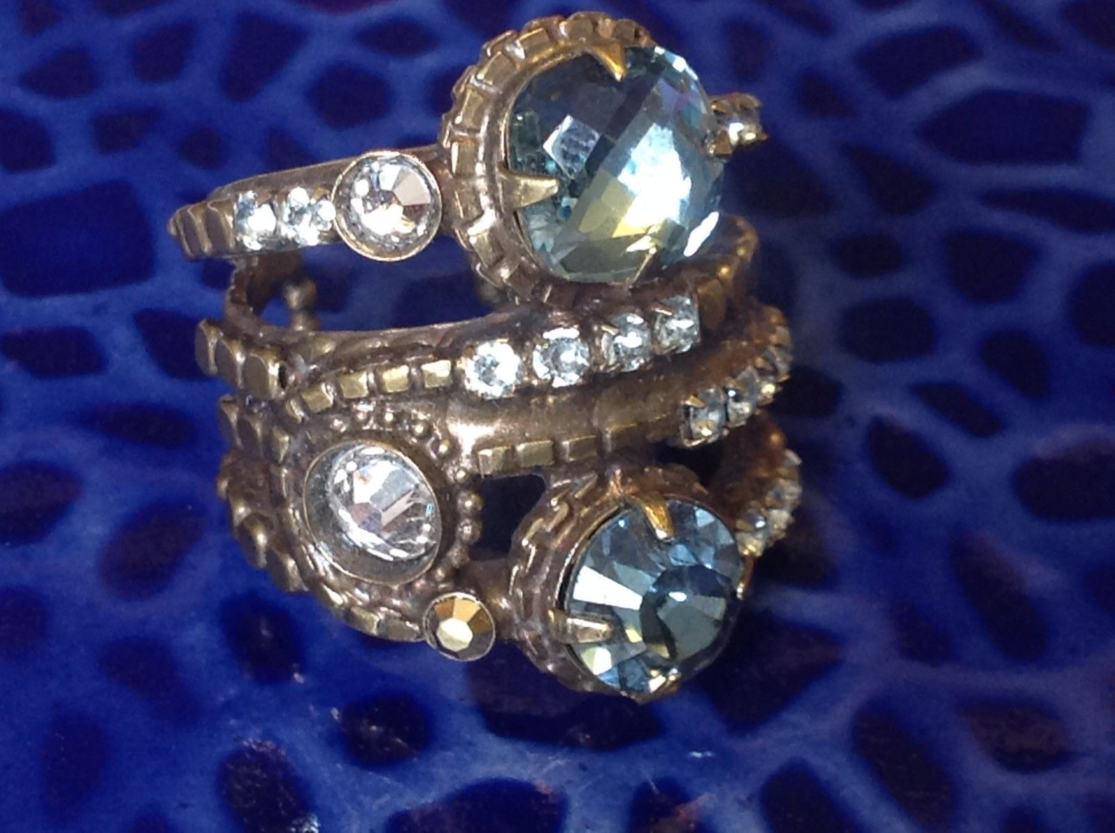 Sorrelli Gold Tone Blue White Stone Vintage Stacker Style Open Adjustable Ring