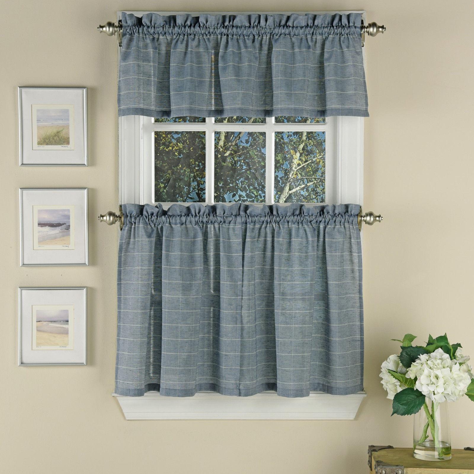 Vue Supple Woven Window Pane Pattern Kitchen Curtain Tiers or Valance Blue - $21.09
