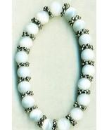 White Glass Cateye Pewter Elastic Bracelet - $2.01