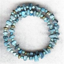 Blue Howlite Gemstone Chip Bracelet 1 - $6.52