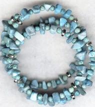 Blue Howlite Gemstone Chip Bracelet 2 - $6.52