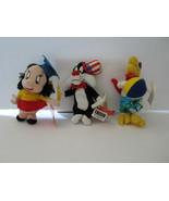 Lot of 3 A Looney Tunes Year 1999 Mini Bean Bag Plush Sylvester Foghorn Petunia  - $10.42