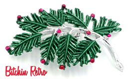 Gerrys Vintage Christmas Pine Bough Brooch with Silver and Red Accents - £12.23 GBP