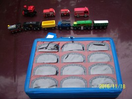 TOY R US blue case plus wood cars trains - $5.00