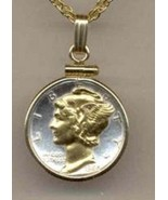 Gorgeous 2-Toned Gold & Silver Old U.S. Mercury dime - Necklace - $69.35