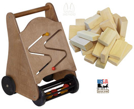 TODDLER PUSH WALKER Block Roller w/ Wood Building Blocks Set Handmade in... - $125.41