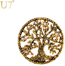 U7 Brand Tree of Life Brooches Gold Color Stainless Steel Rhinestone Men... - $24.77+