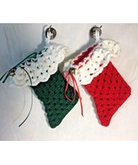"""2 Small Hand Crocheted Stockings for Treats Flatware Red Green 7"""" x 3.5"""" - $15.95"""