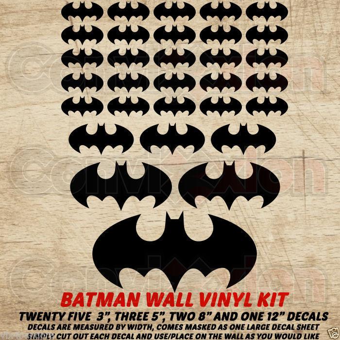 "Batman Wall Vinyl Decal Set Black Dark Knight Wall Vinyl 31 Decals 3"" 5"" 8"" 12"" - $19.59"