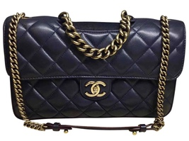 AUTHENTIC CHANEL RARE NAVY BLUE QUILTED LAMBSKIN LARGE PERFECT EDGE BAG ... - ₨239,681.52 INR