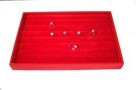 LARGE RED FELT PLUSH RING TRAY jewelry holder display cushion slots NEW BOX - $8.98