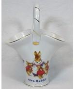 Peter Rabbit World of Beatrx Potter Porcelain Handle Basket Vase Mrs Rab... - $12.99
