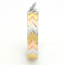 Chevron Design Tri-Color Silver, Gold & Rose Tone Hoop Earrings- United Elegance image 4