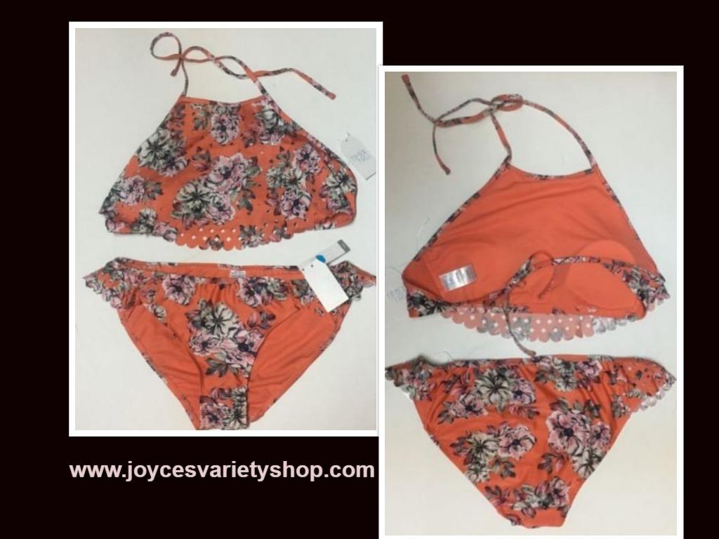 Time & Tru Two Piece Swimsuit Coral Floral Top Sz L (12-14), Bottom Sz M (7-8)