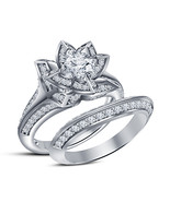 Lotus Flower Ring 925 Sterling Silver White Gold FN Engagement Bridal Ring Set 7 - $110.99