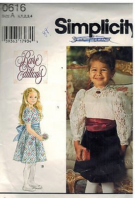 0616 Vintage Simplicity Sewing Pattern Girls Dress Rare Editions Knee Length OOP